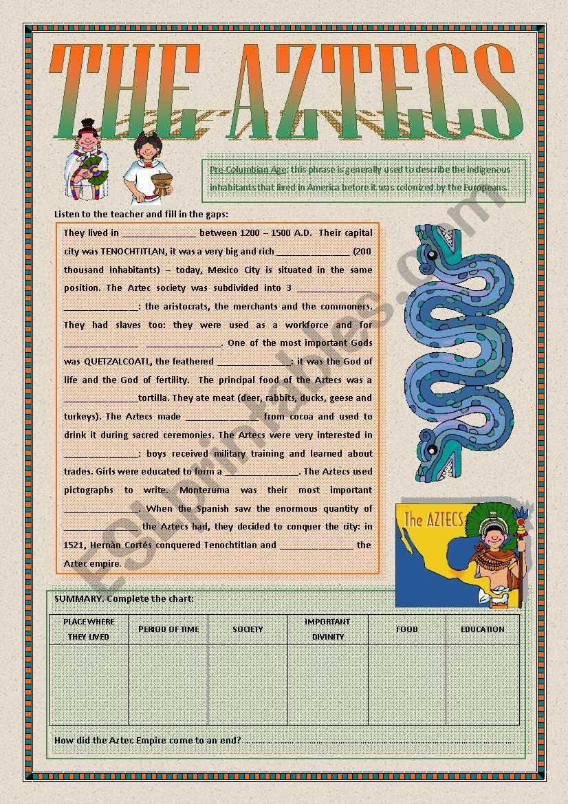 The Aztecs Esl Worksheet By Alex076