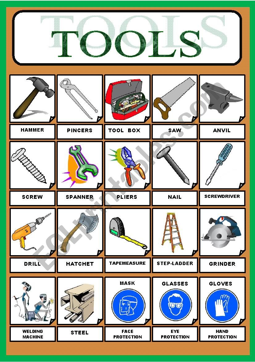 WORKING TOOLS worksheet