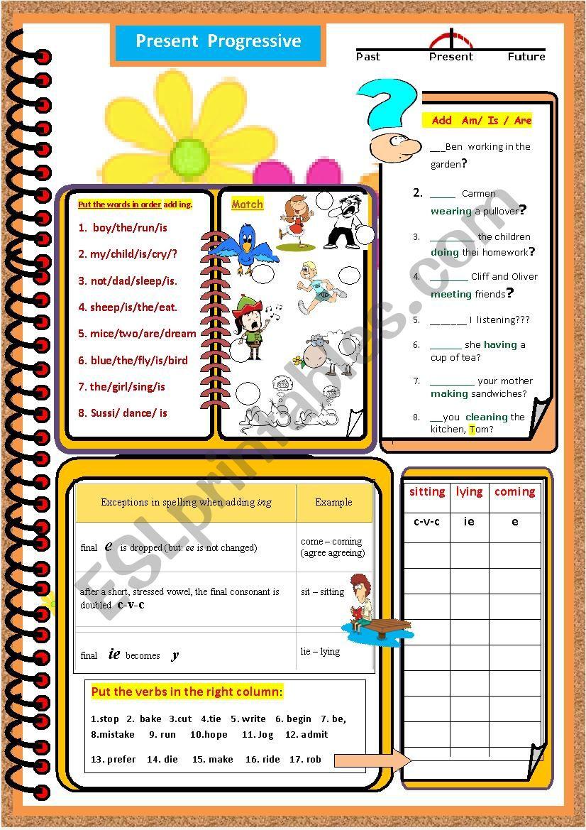A Series of grammar worksheets - Present  Progressive