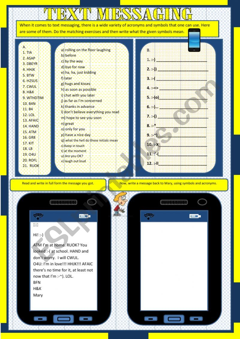 Text Messaging Acronyms And Symbols Esl Worksheet By Marlia Gomes