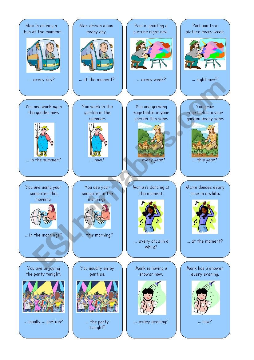 Go fish: present continuous and present simple 01