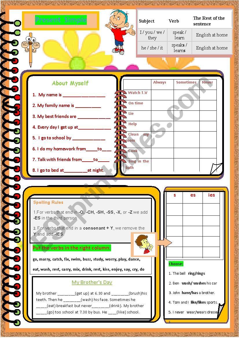 A series of Garmmar Worksheets - Present Simple