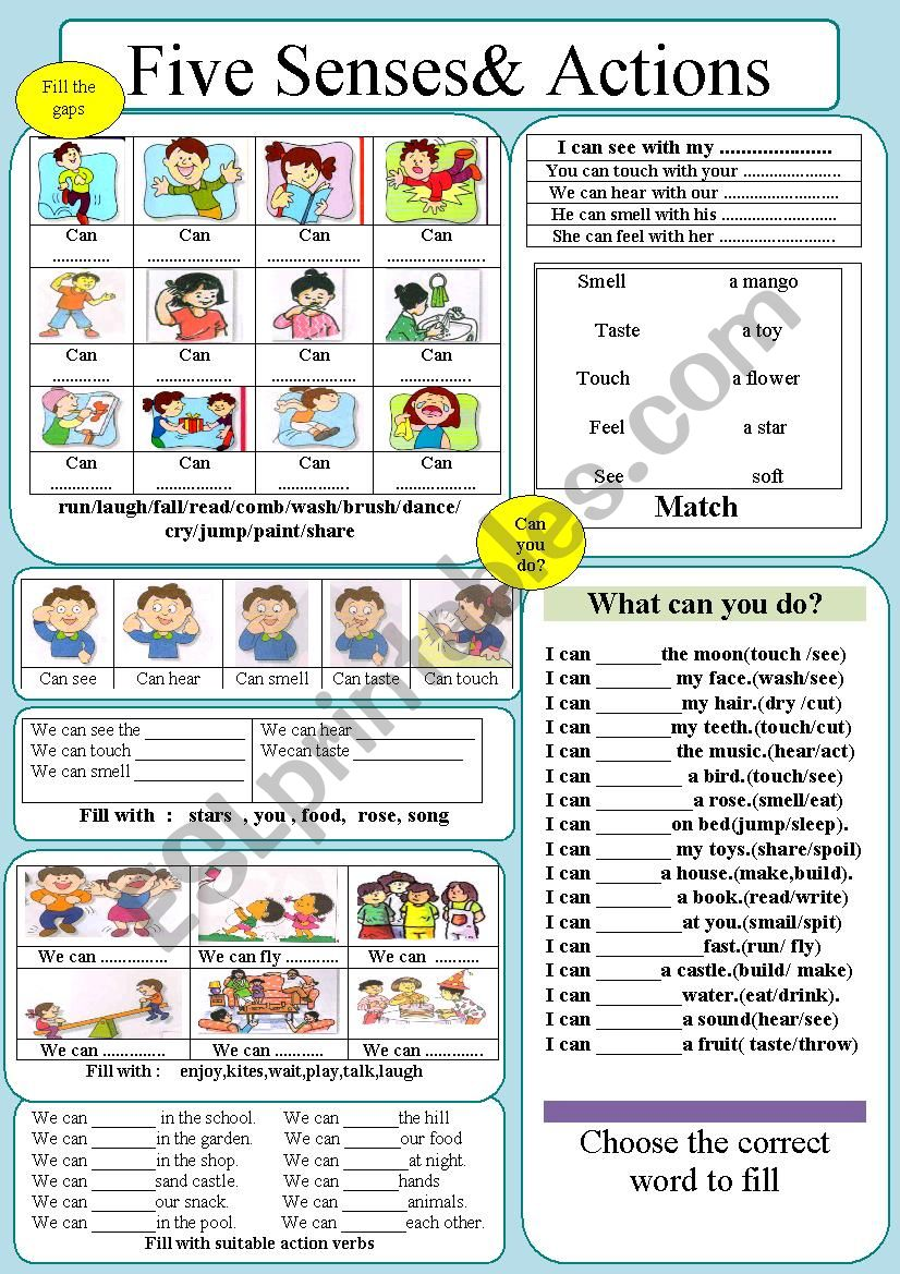 Senses & Action Verbs worksheet