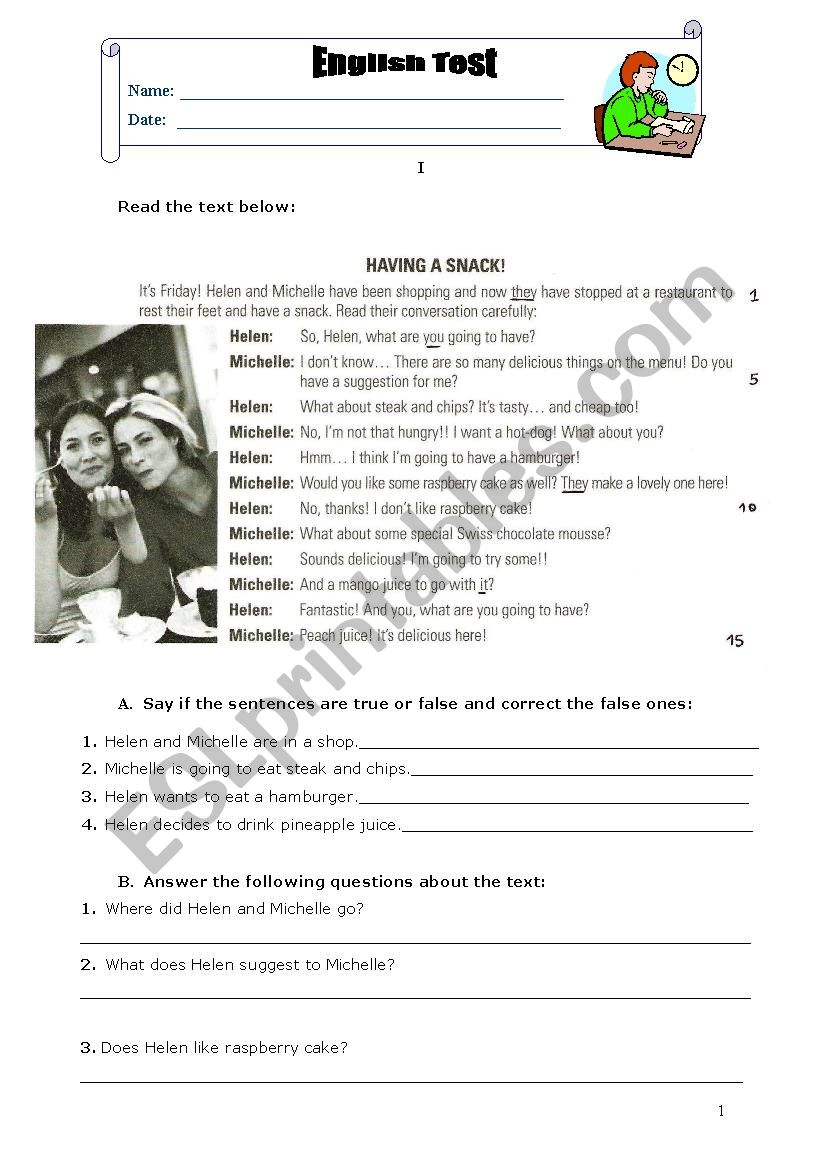 English test 8th grade (Food) worksheet