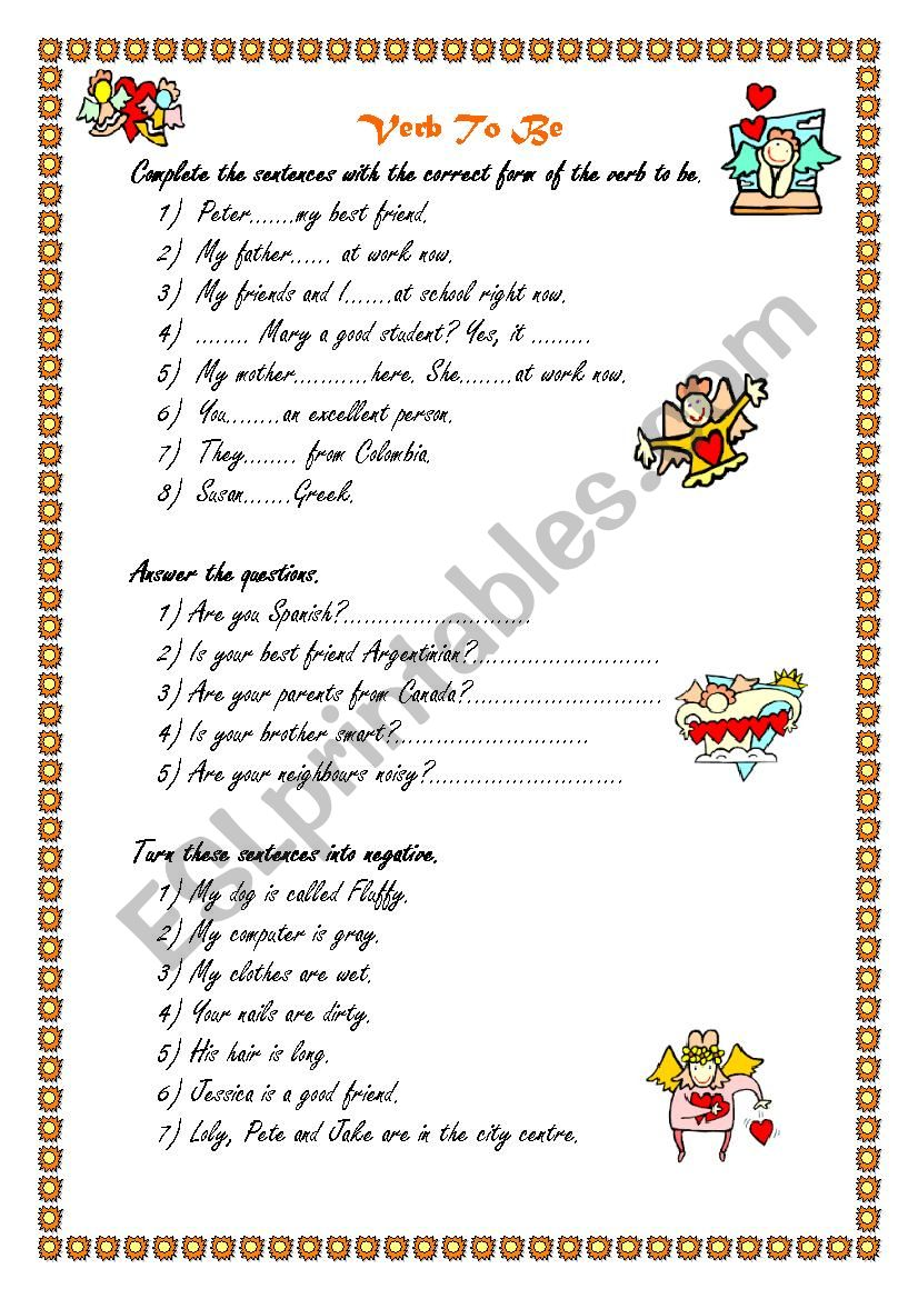 Verb to be for beginners  - ESL worksheet by Sanndry