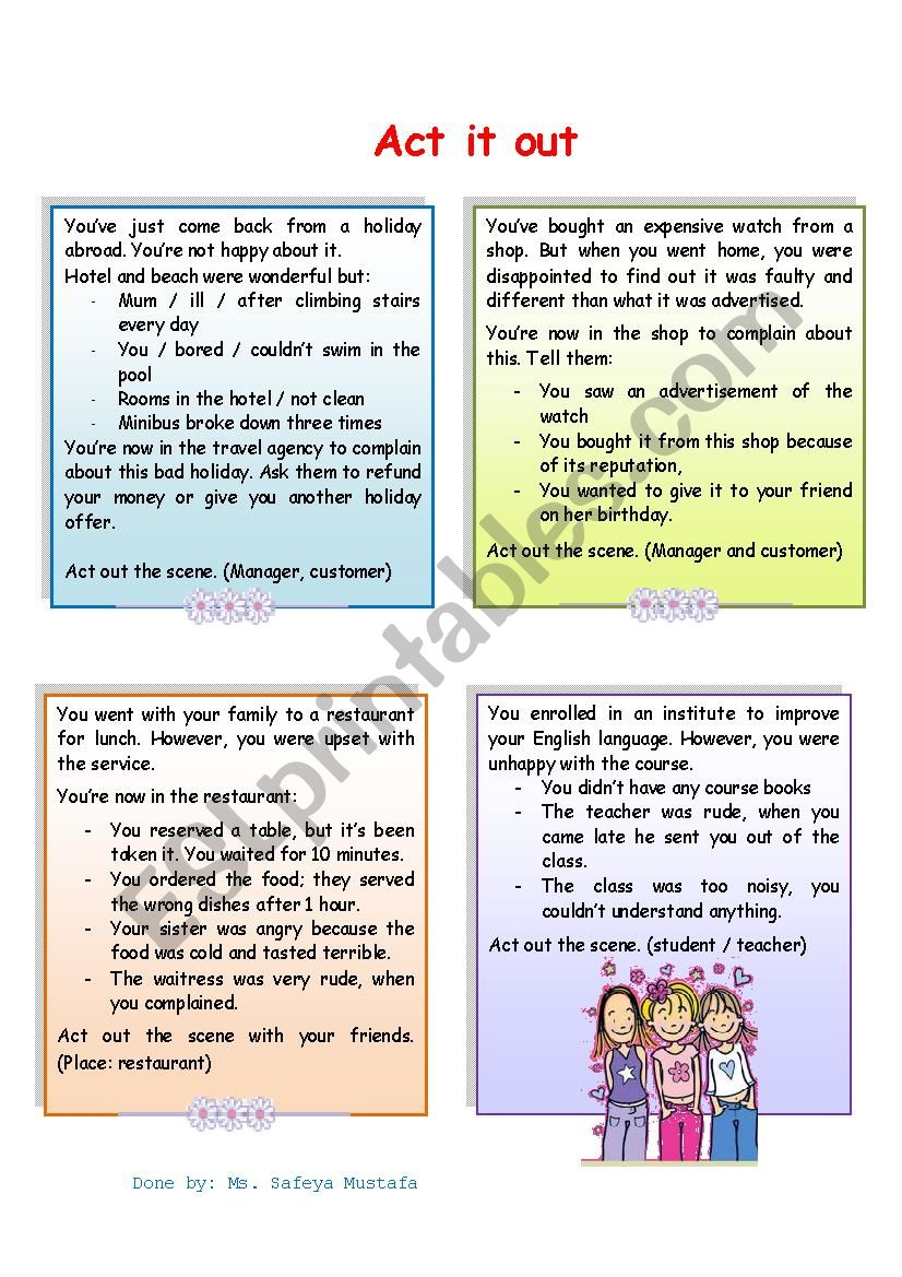 complaints role play worksheet
