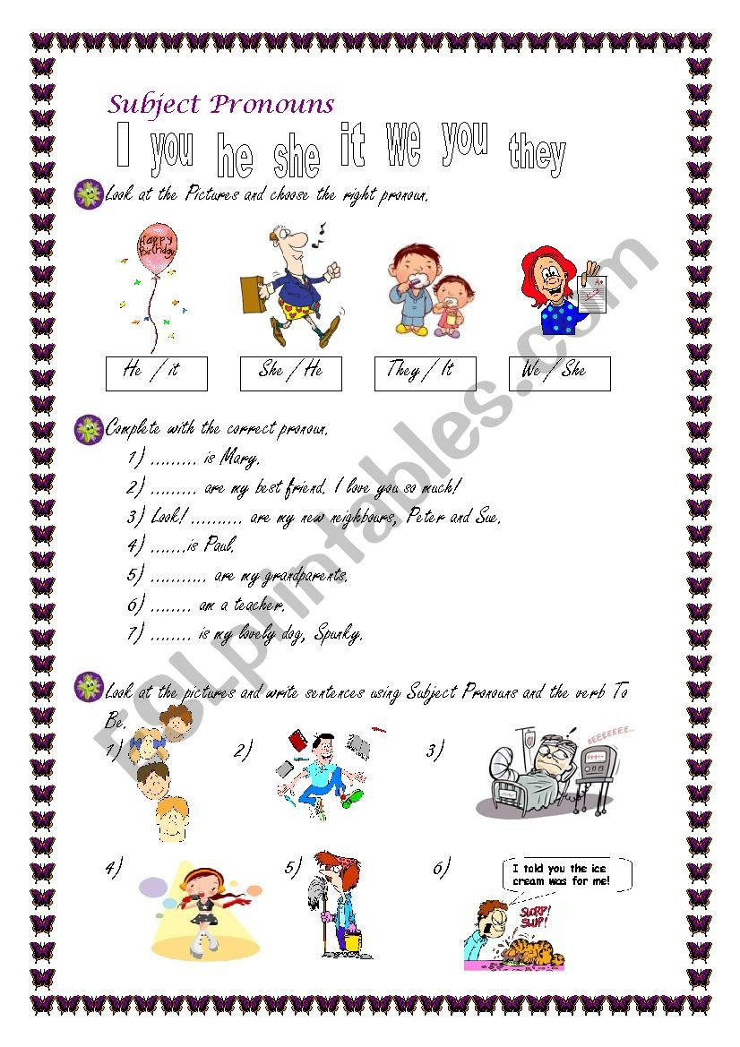 Subject Pronouns for beginners.