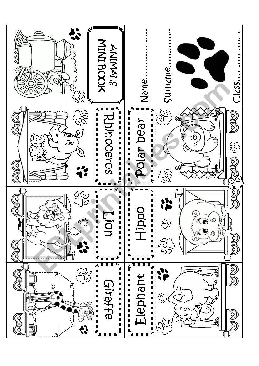 ANIMALS MINI BOOK worksheet