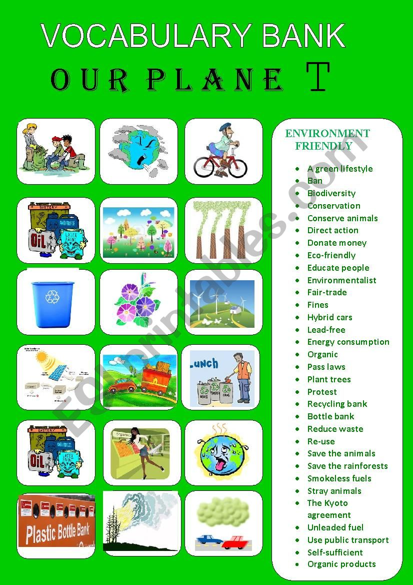 OUR PLANET- VOCABULARY BANK 2 worksheet