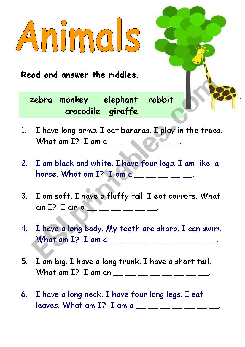 Animal Riddles Esl Worksheet By Charleneesl