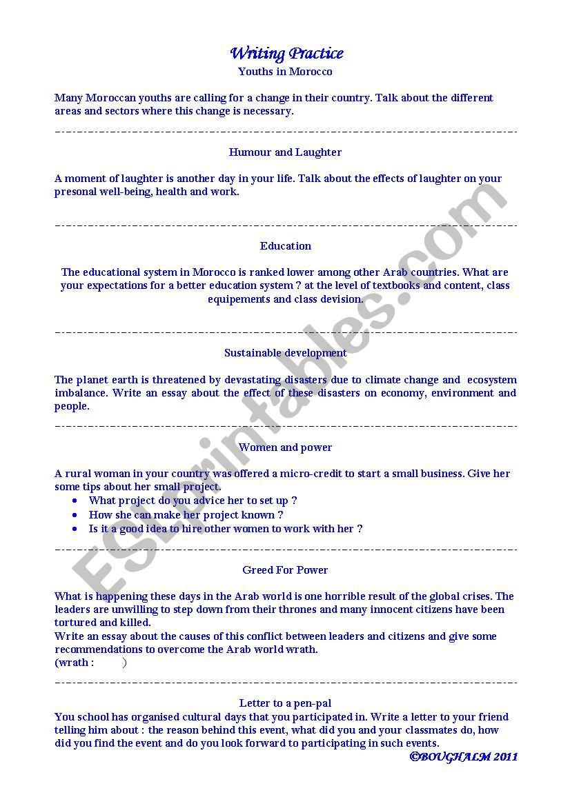 esl writing topics for beginners