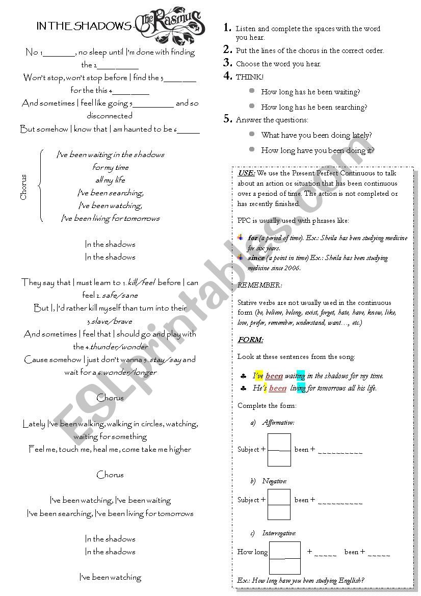 IN THE SHADOWS: SONG TO TEACH PRESENT PERFECT CONTINUOUS