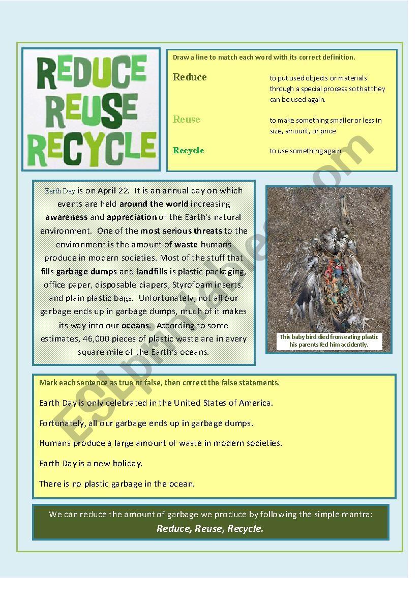 Reduce Reuse Recycle Esl Worksheet By Bonniejeanne