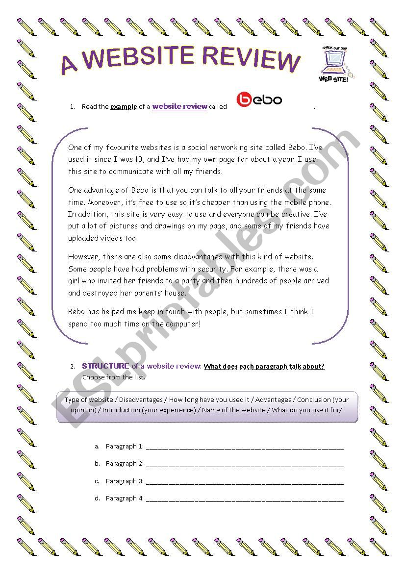 A WEBSITE REVIEW - ESL worksheet by clacambr