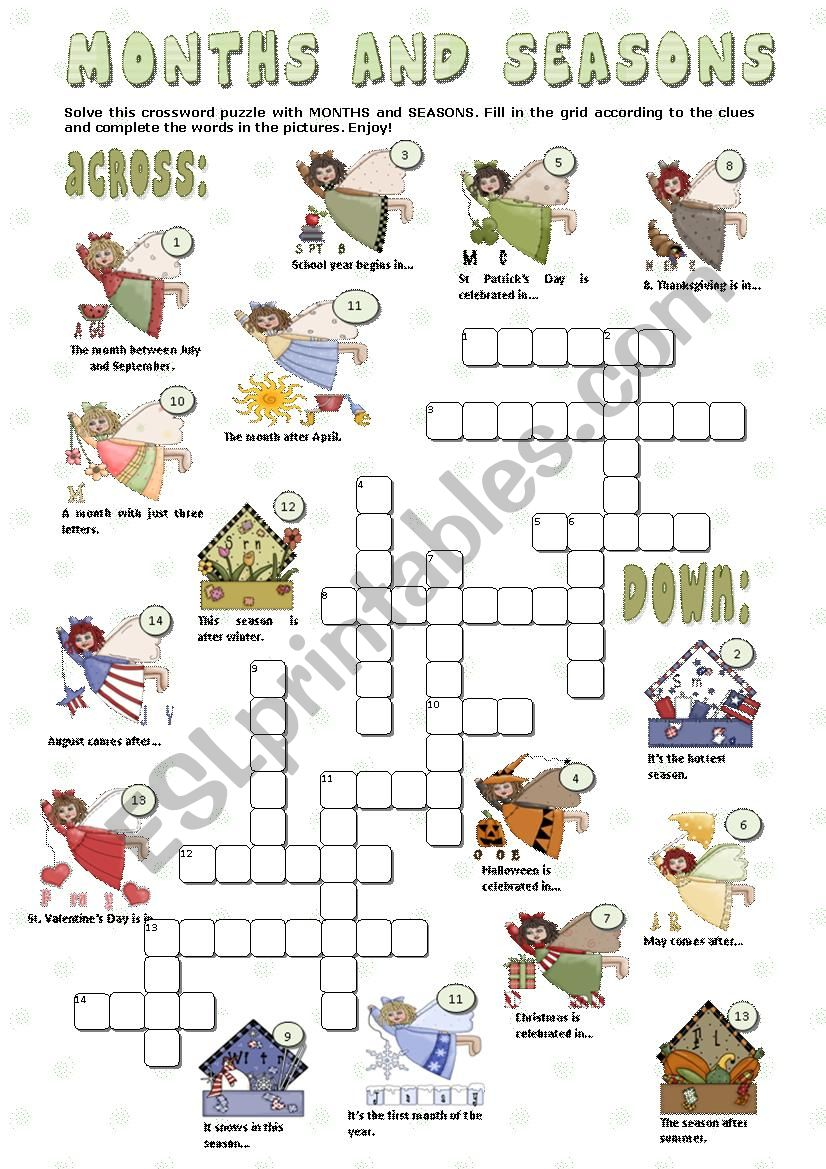 MONTHS and SEASONS - crosswords