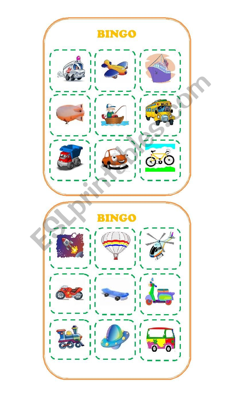 Bingo about Transportation worksheet