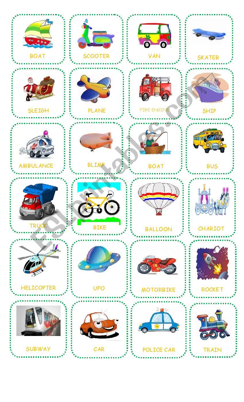 Bingo about Transportation Teacher´s Board