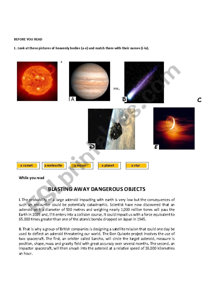 collision course worksheet