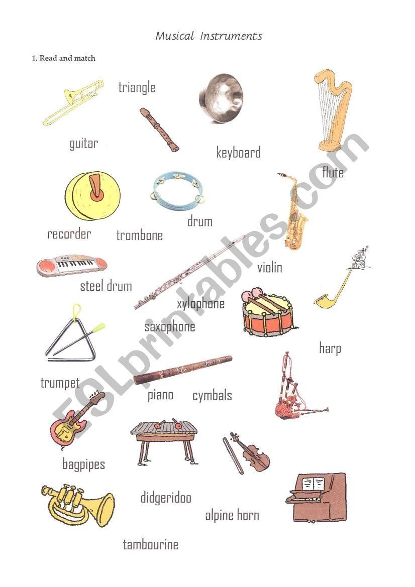Create Your Own Instrument Worksheet : Musical instruments worksheet esl by toyotka
