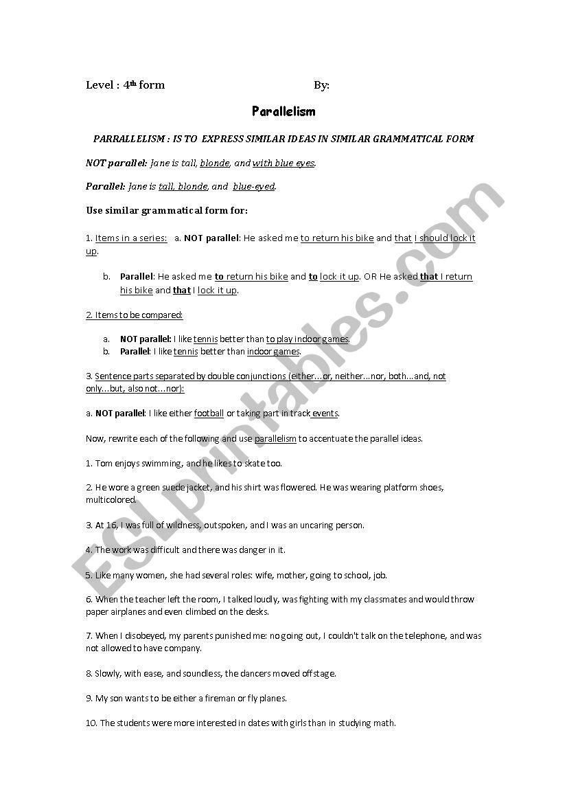 Worksheet For 4th Form Parallelism Esl Worksheet By Toffaha