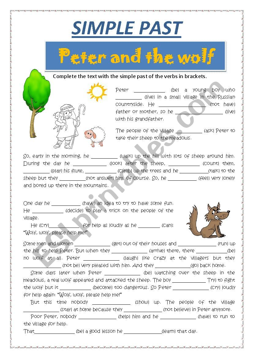 SIMPLE PAST - PETER AND THE WOLF