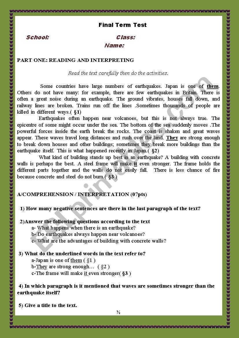 disasters (earthquakes ) worksheet