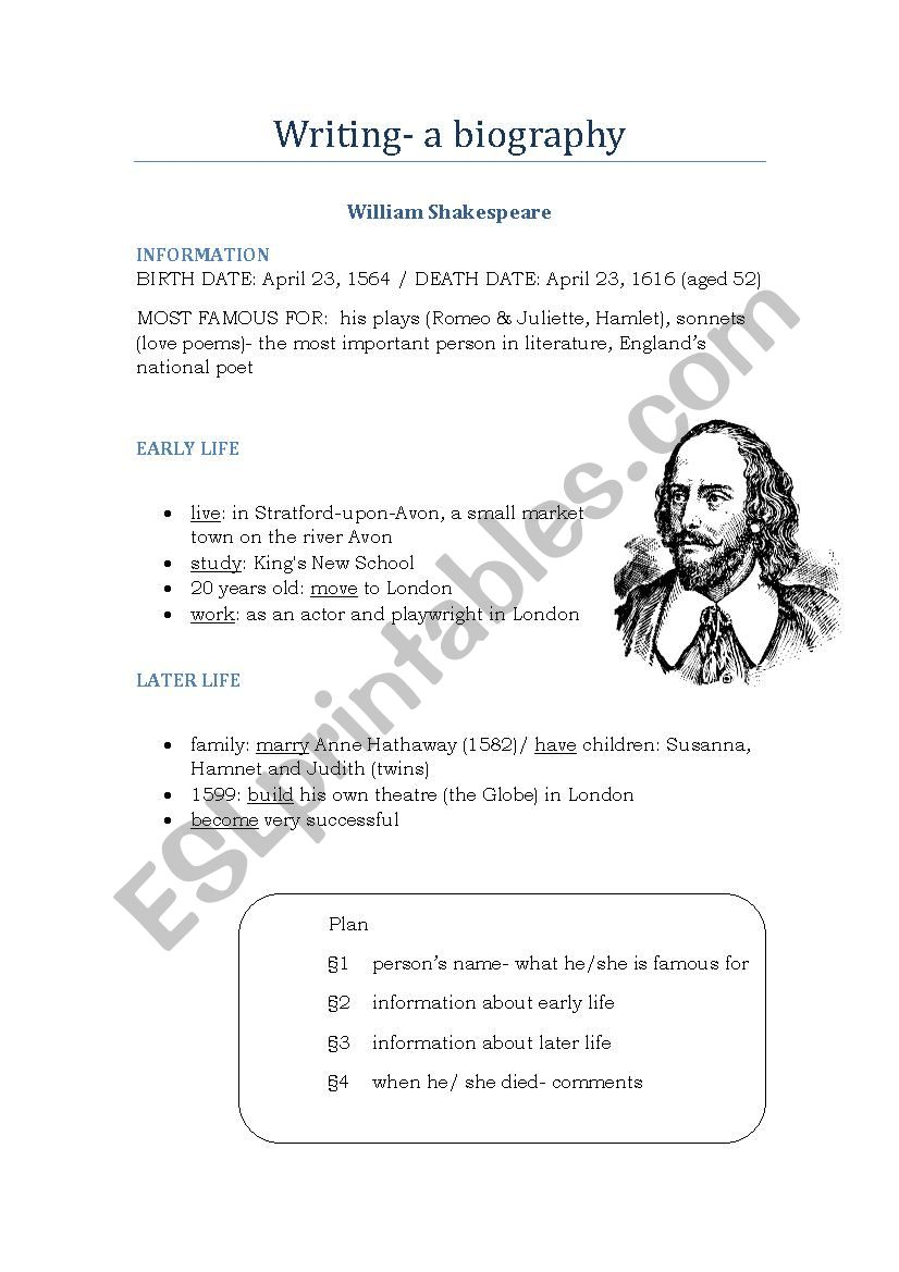 How to write- a biography worksheet