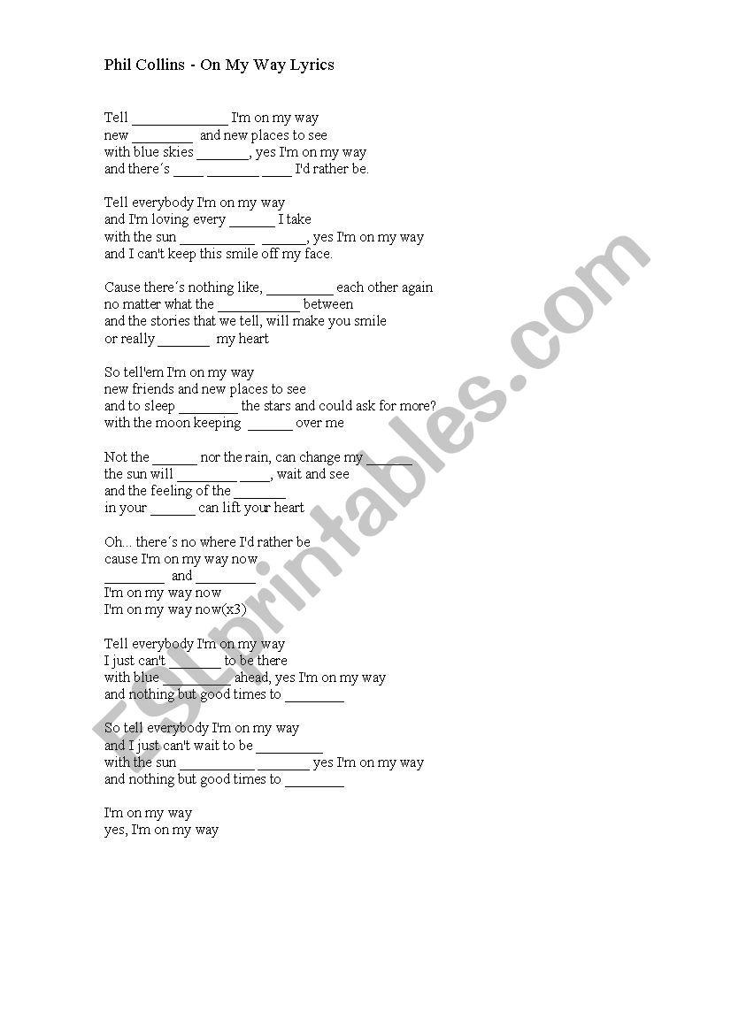 On My Way lyrics - Phil Collins