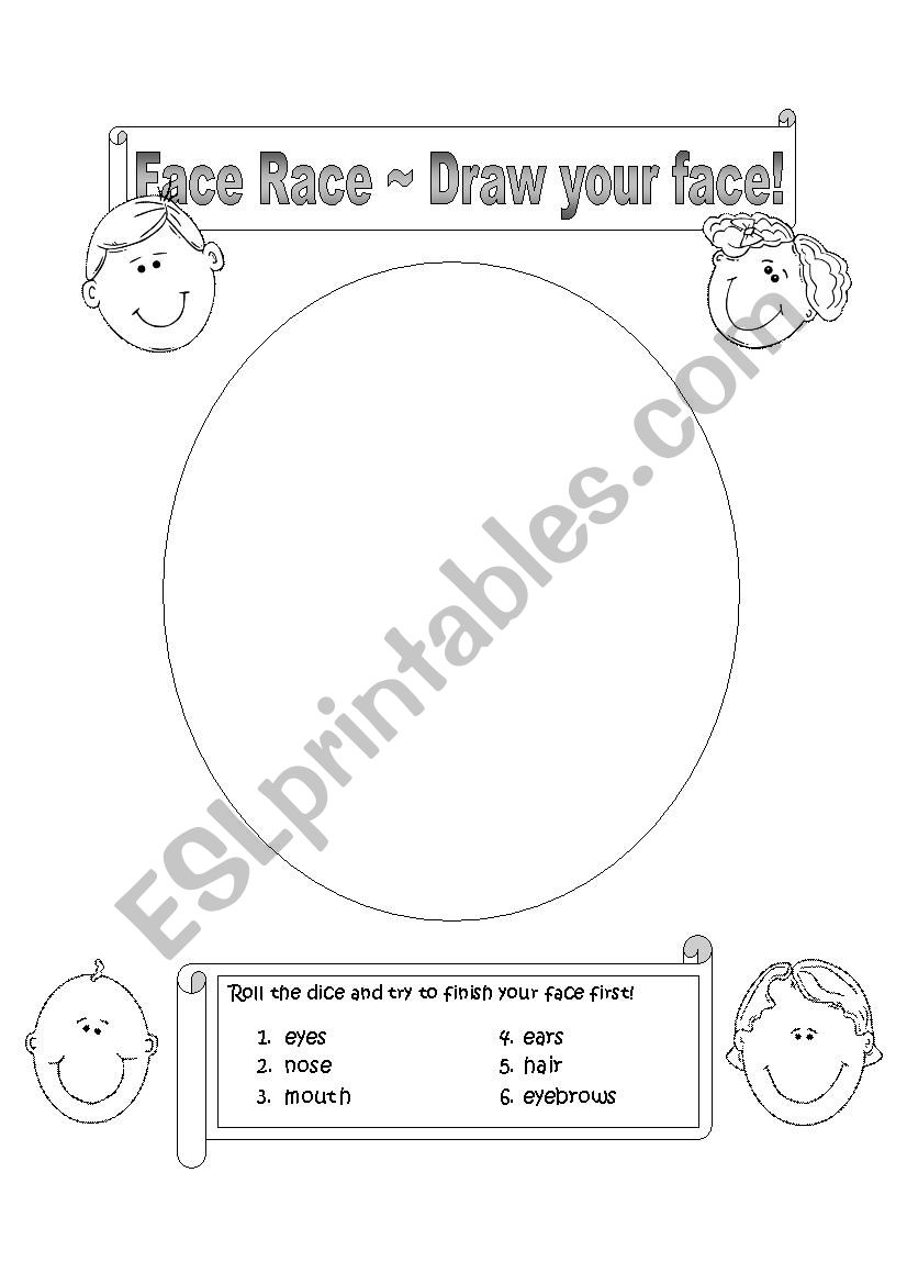 Face Race - Draw your face! worksheet