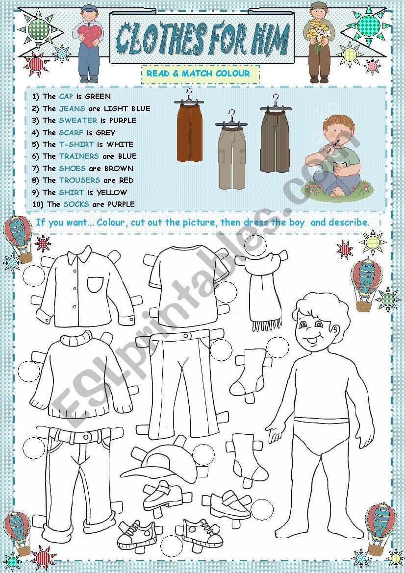 CLOTHES FOR HIM (2 PART) worksheet