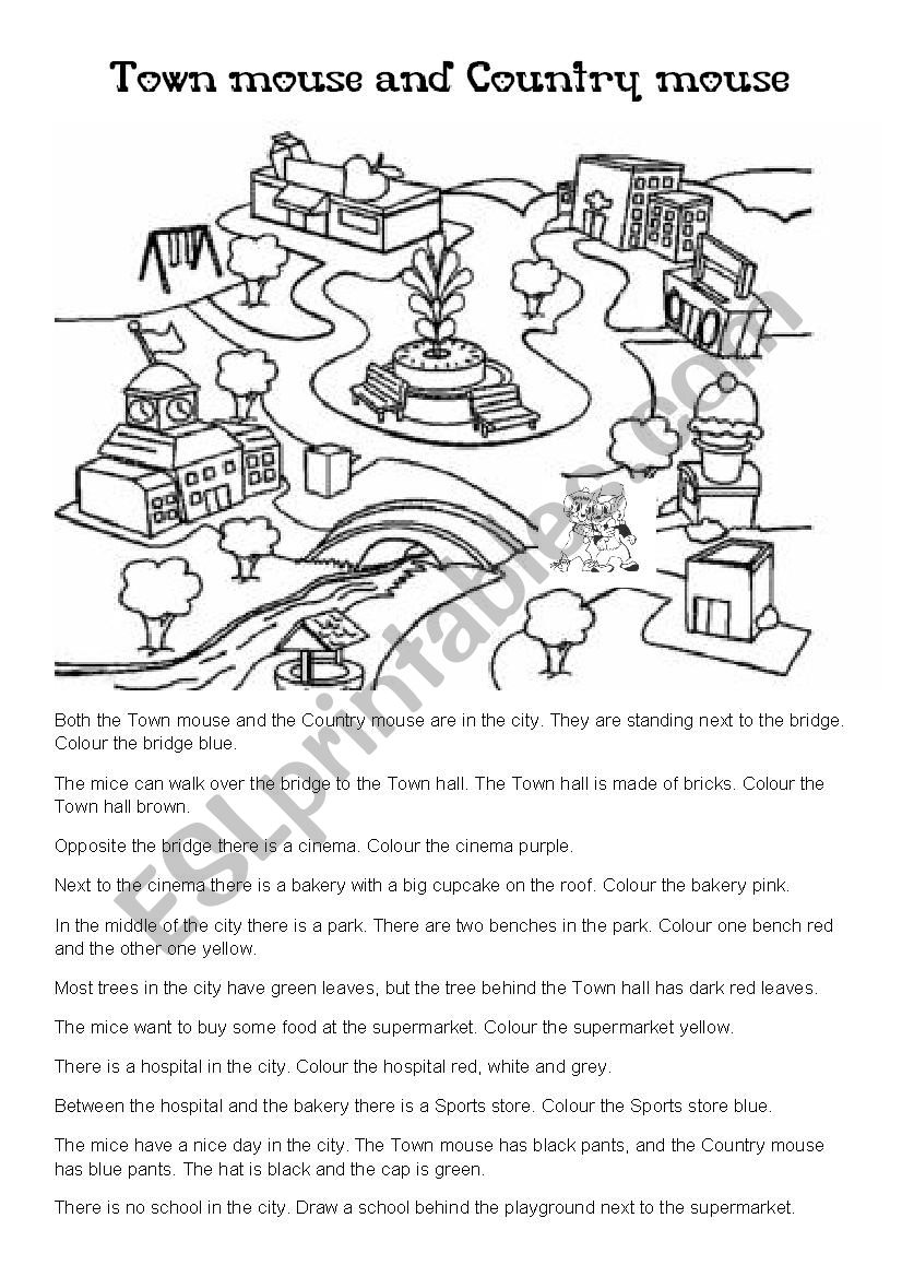 town mouse and country mouse colouring page esl worksheet by annaas. Black Bedroom Furniture Sets. Home Design Ideas
