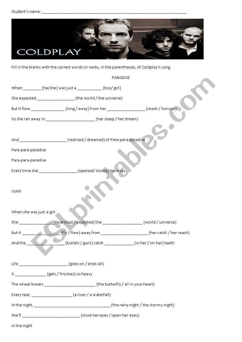 Paradise (Coldplay´s song) worksheet