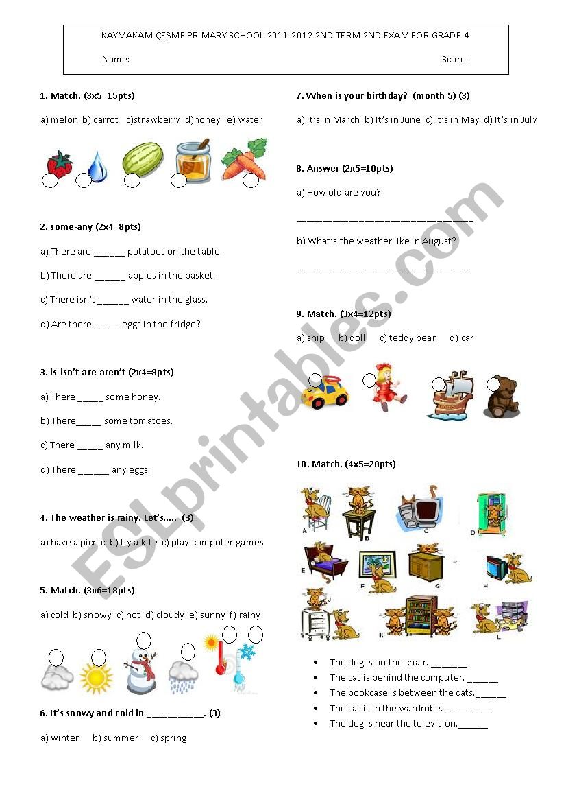 4th grade 2011-2012 2nd term exam