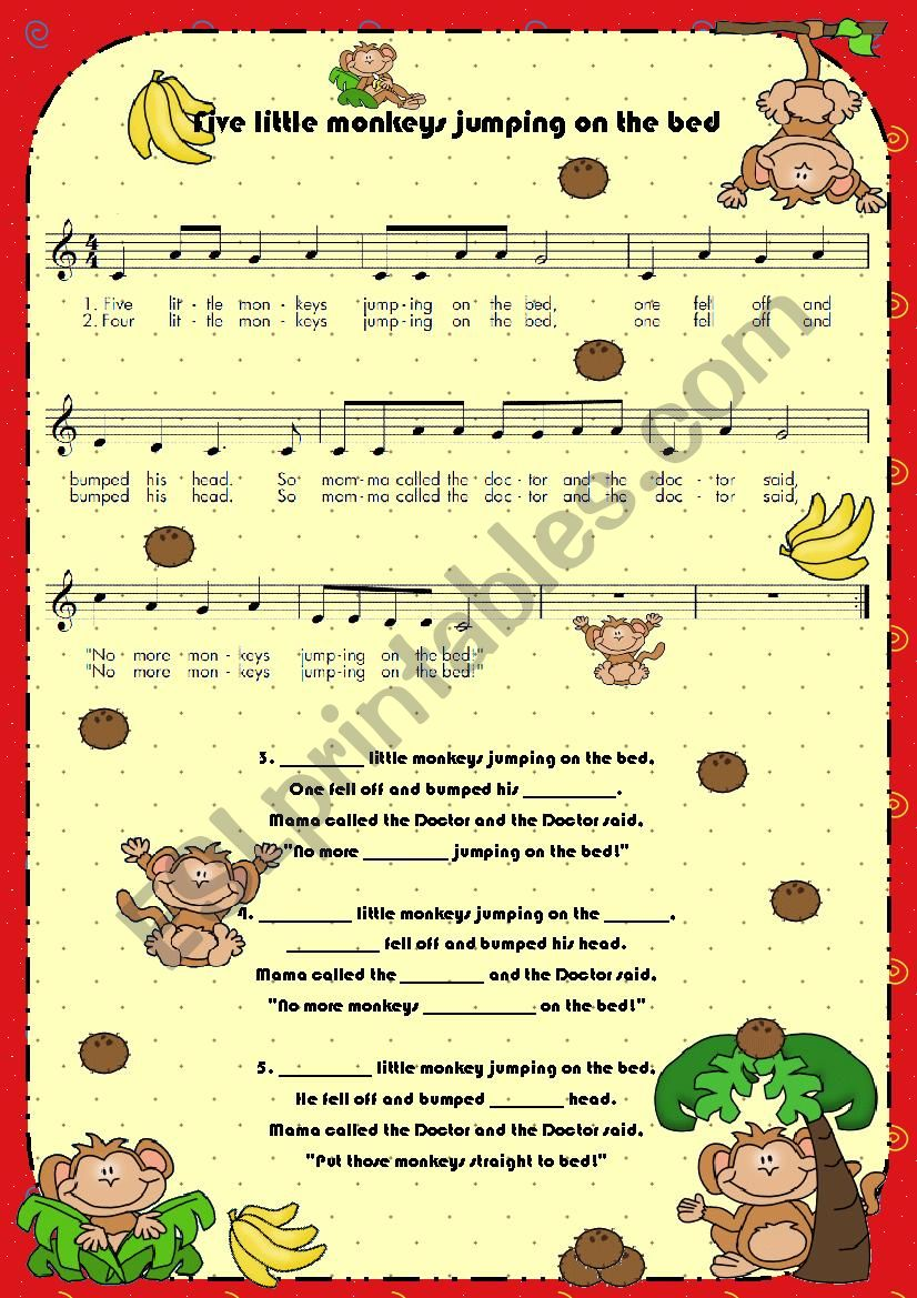 Lyrics (fill in the blanks): Five little monkeys