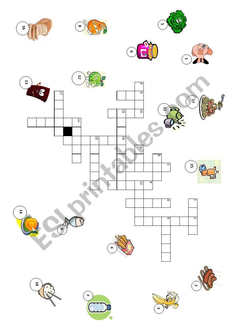 food crosswords worksheet