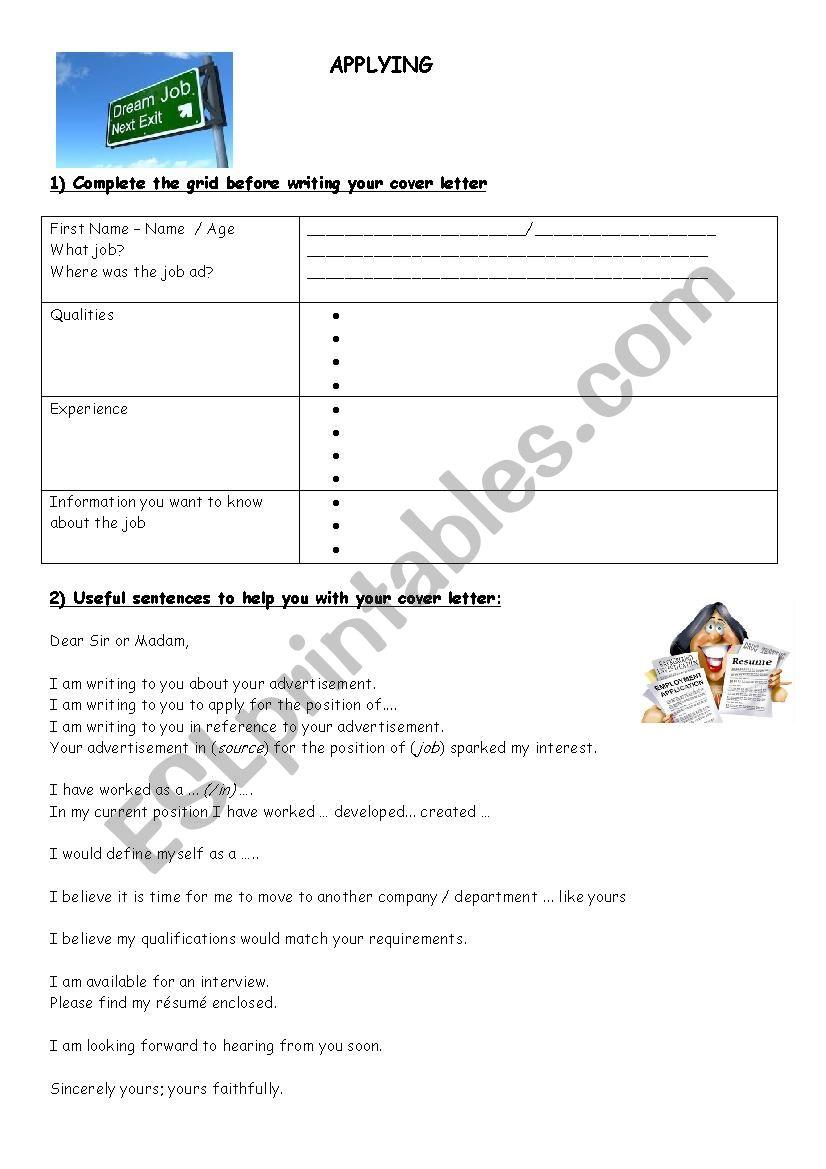 Applying for a job worksheet