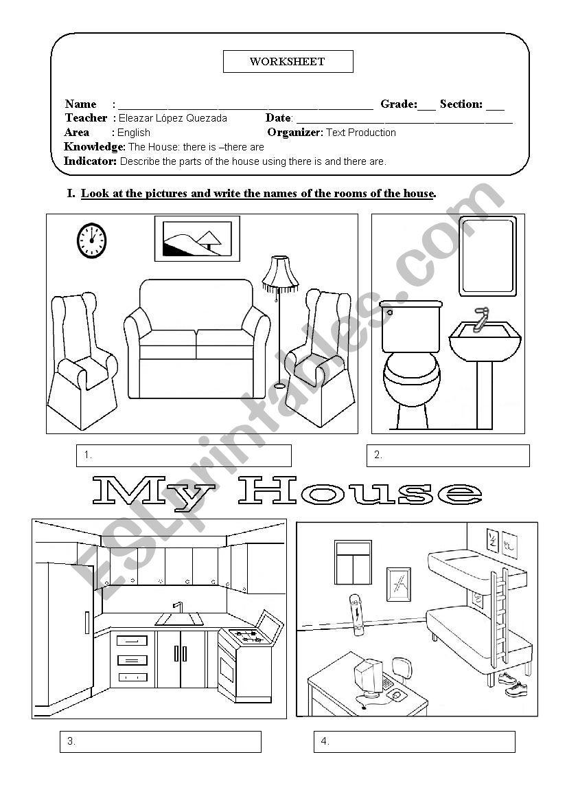 Rooms Worksheet: ESL Worksheet By Eleazar
