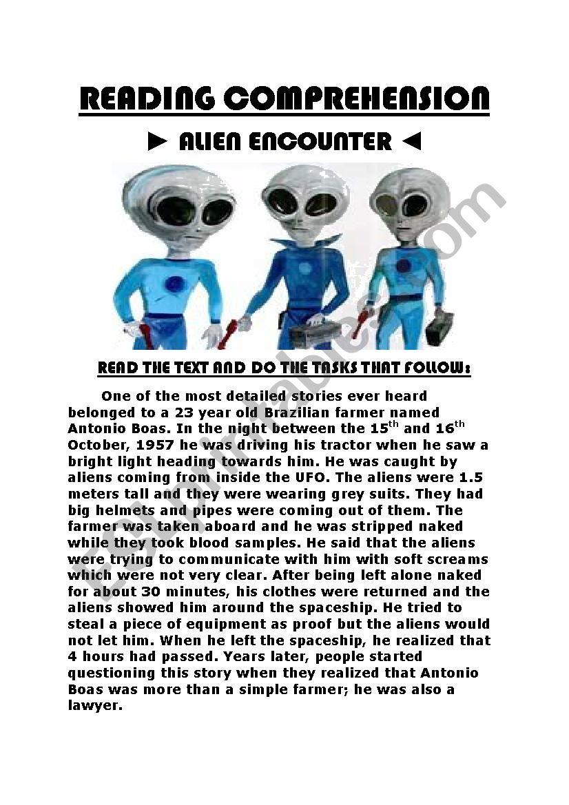 worksheet Alien Encounters Worksheet english worksheets reading comprehension alien encounter encounter