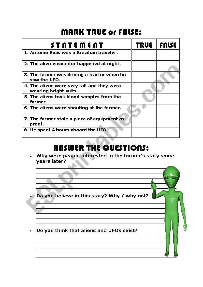 worksheet Alien Encounters Worksheet english worksheets reading comprehension alien encounter