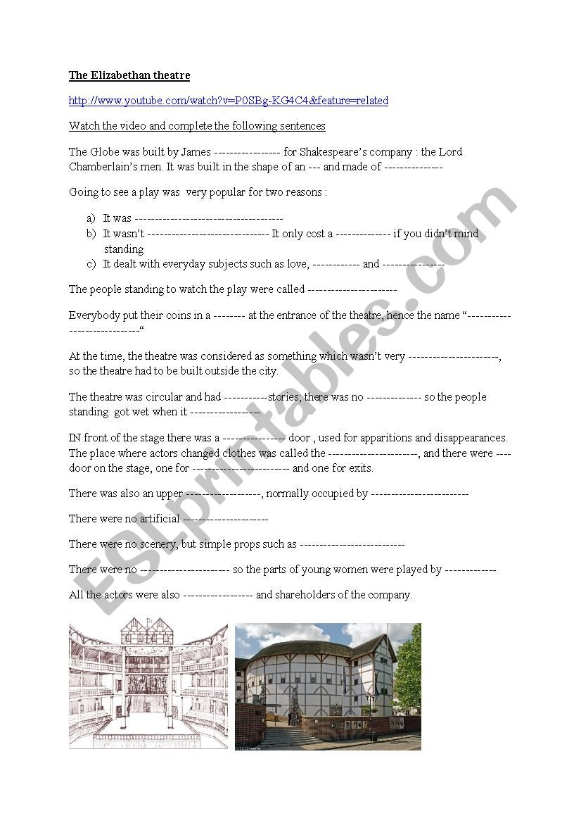 The Elizabethan theatre worksheet