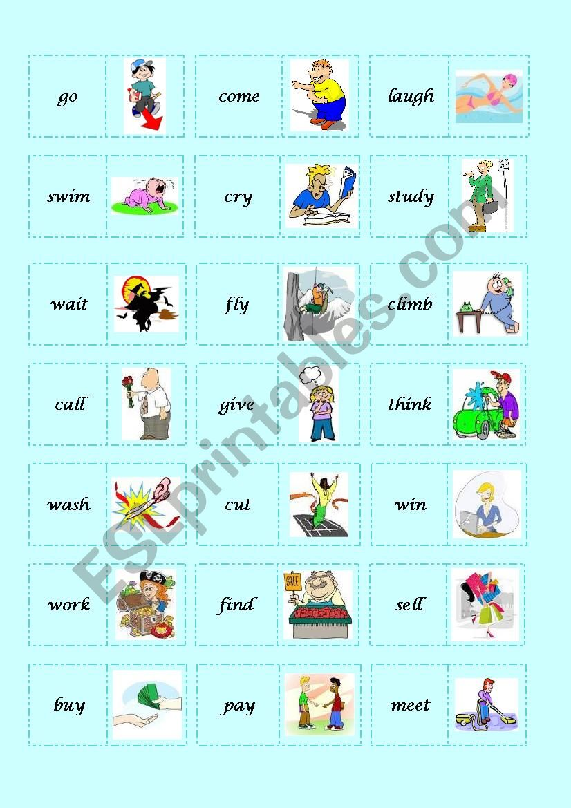 BASIC VERBS DOMINO - 2/2 - ESL worksheet by the globe