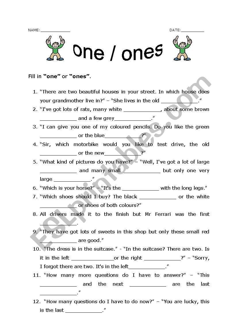 One or ones worksheet