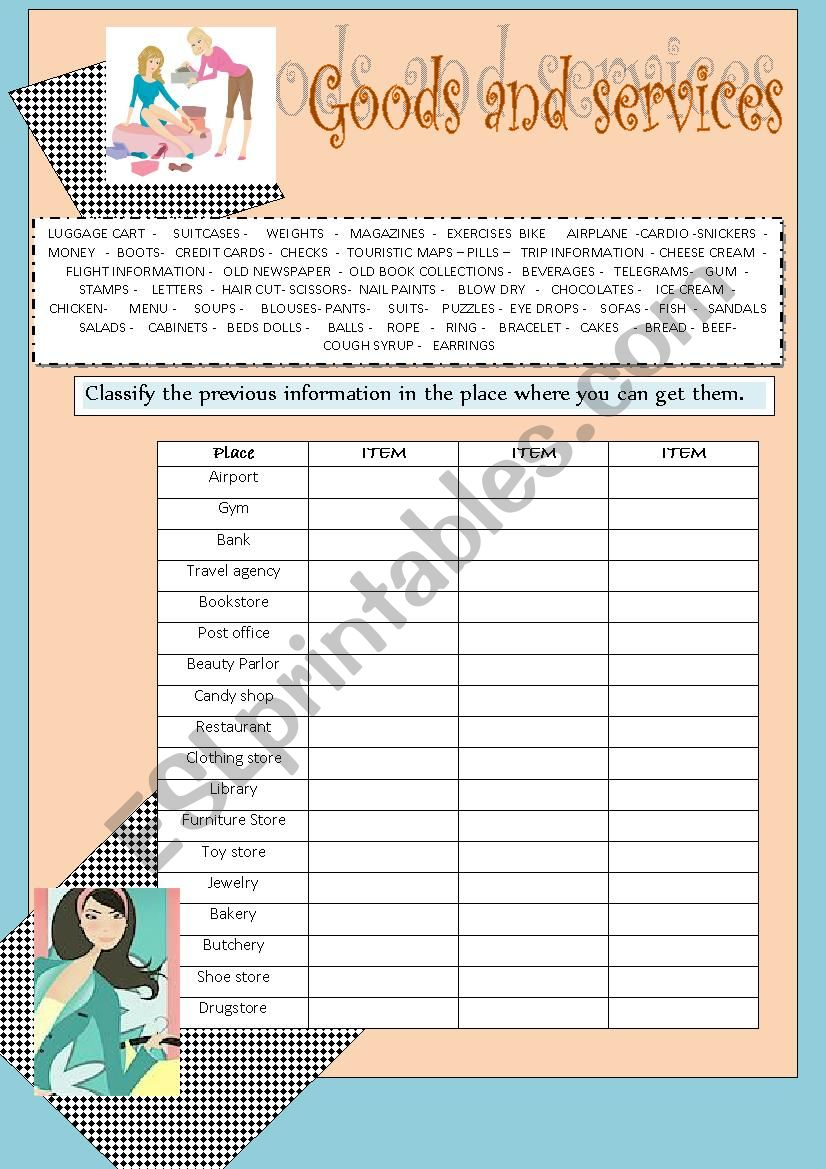 Good and services worksheet