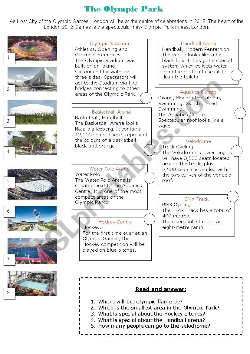 The Olympic Park London 2012 worksheet