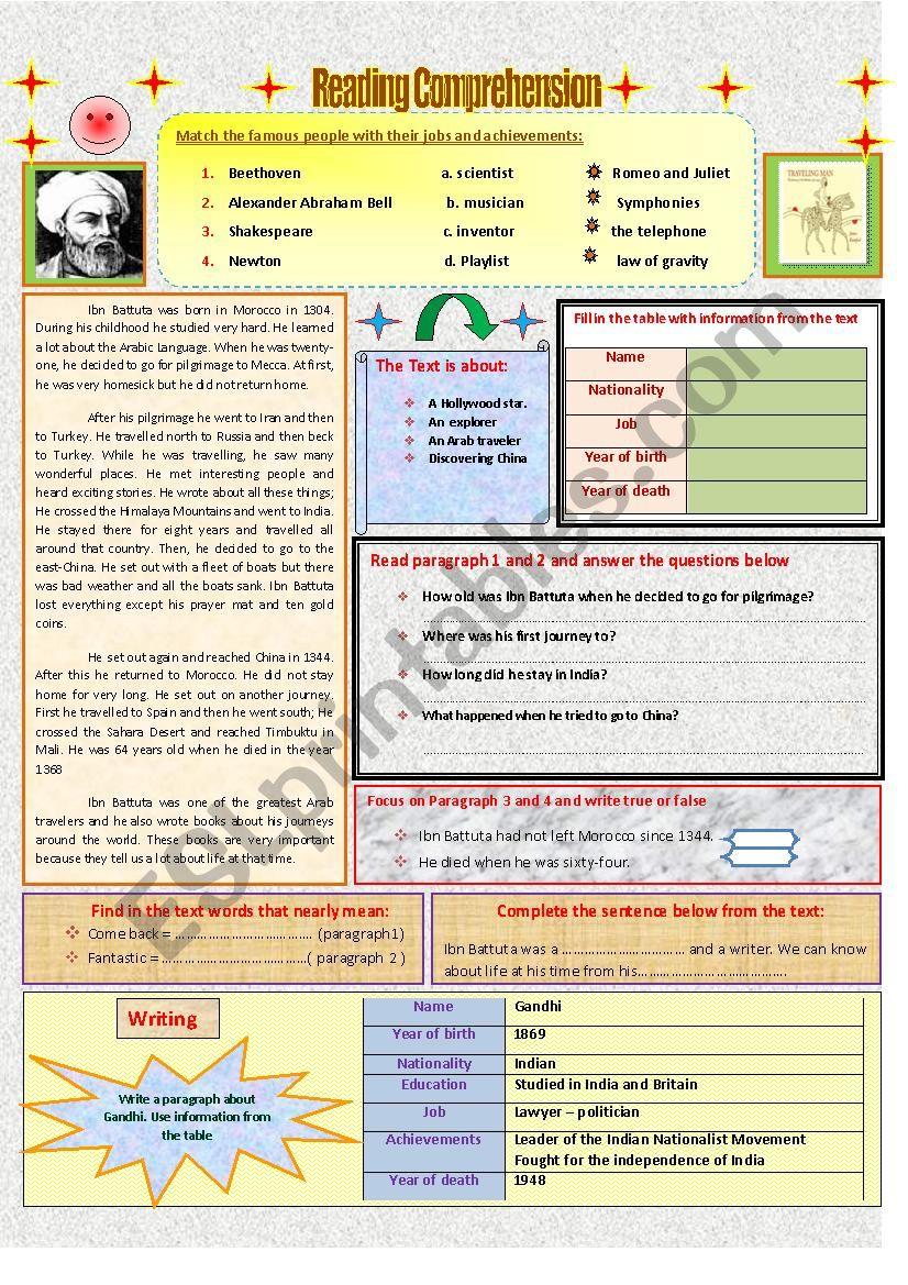Reading Comprehension Ibn Battuta Esl Worksheet By Feridrzg