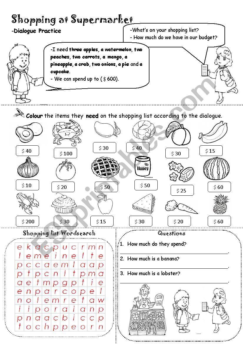 Shopping at Supermarket (Wordsearch and Questions)