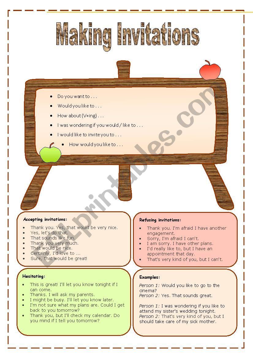 English worksheets expression list making invitation expression list making invitation stopboris Images