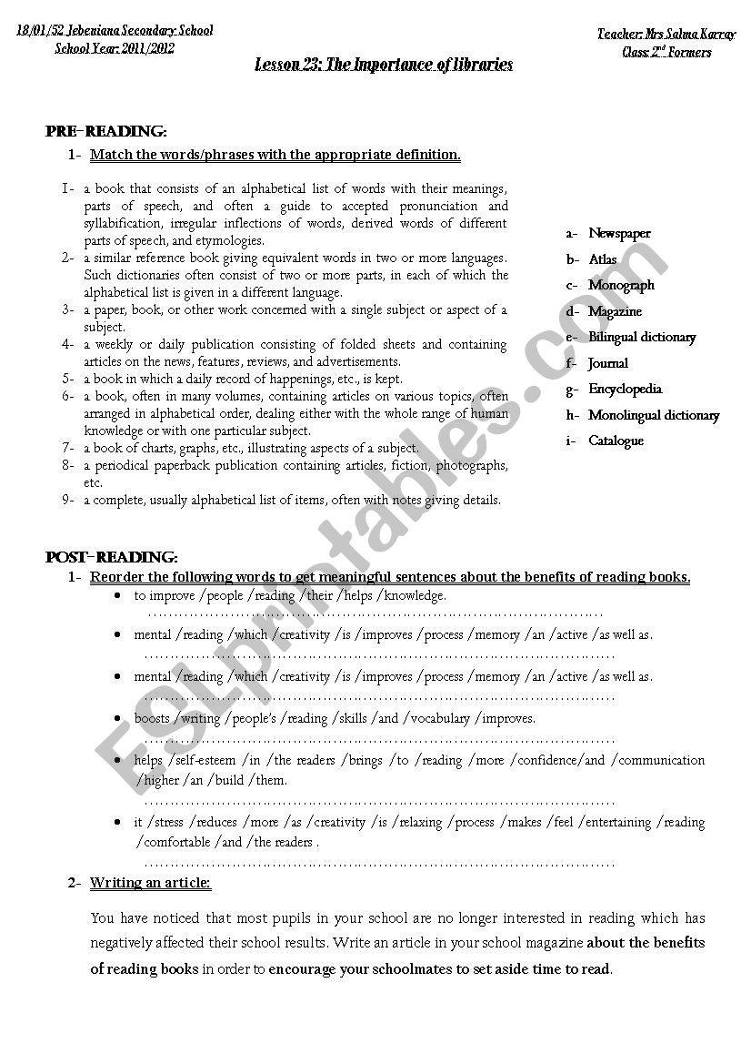 The Importance of Libraries worksheet