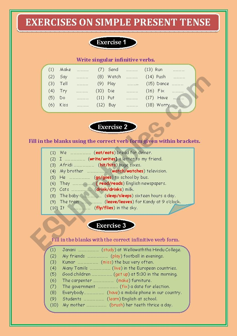 Exercise on Simple Present Tense
