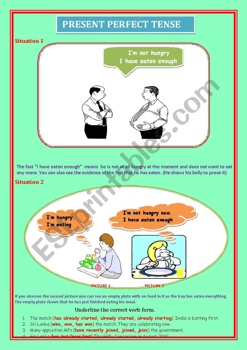Situations where Present Perfect Sentences are used